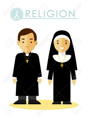 Catholic christian priest and nun in uniform in flat style isolated on white background